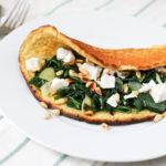 Amandelpannenkoek-spinazie-geitenkaas